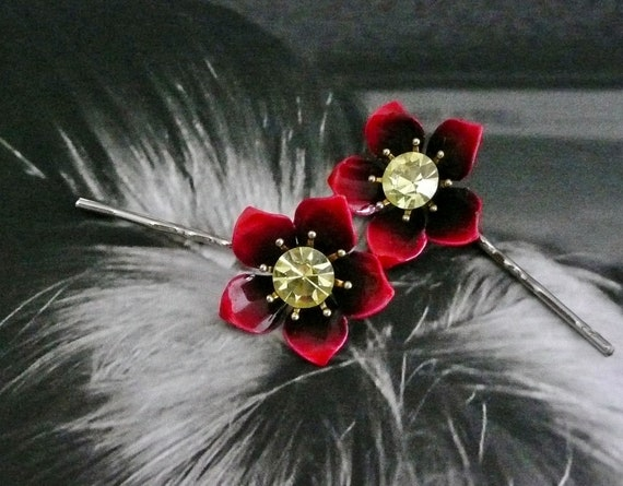 Fall Winter Christmas Red Peony Rose Rhinestone Hair Pins