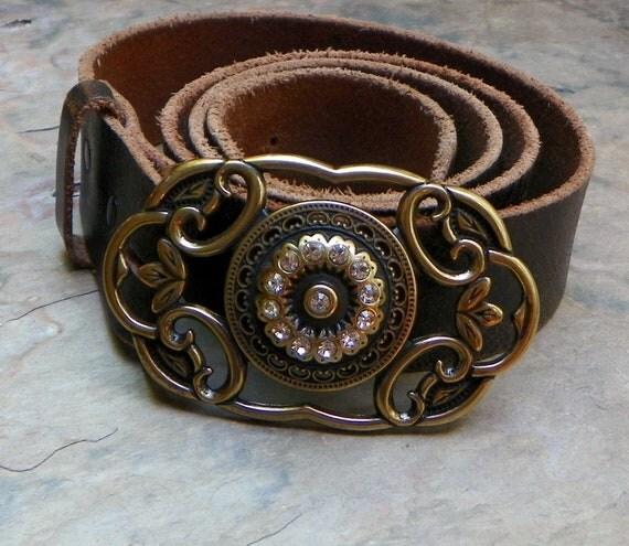 Bohemian Boho Gypsy Bronze Rhinestone Leaf Belt Buckle, 80's Fashion