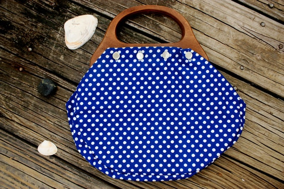 Vintage Navy Blue And White Polka Dotted Purse With Wooden Handle