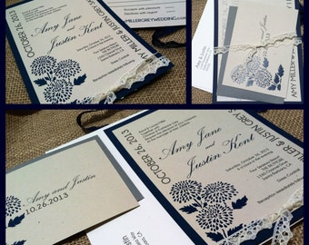 MODERN Wedding Invitations - Elegant Grey Collection - Navy Blue - Gray - Ivory Lace - Floral Stencil - Recycled Cardstock - Eco-Friendly