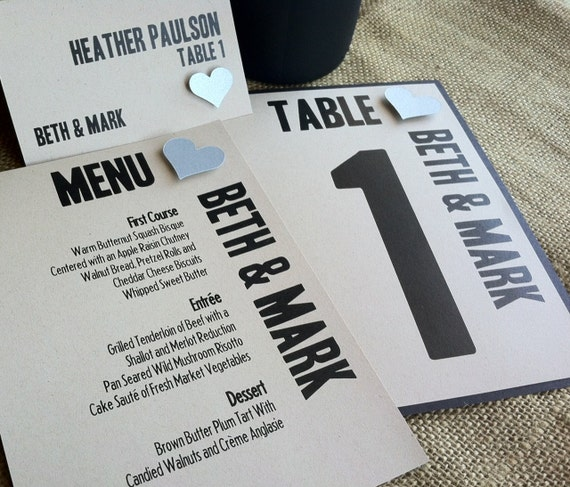 MODERN Wedding Reception Set - Modern Recycled - Table No - Placecard - Menu - Program - Rustic - Eco - SAMPLE