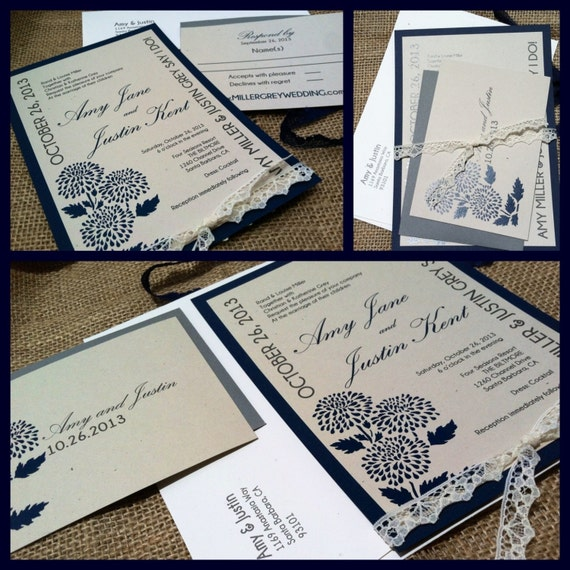 MODERN Wedding Invitations Elegant Grey Collection Navy