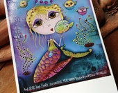 "Title: ""Whispers of the Soul"" - Blank Greeting Card - Inspirational colorful - Mermaid Blowfish Bubbles"
