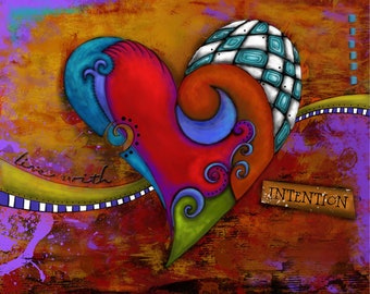 """Title: """"Live with Intention"""" . Inspirational colorfulArt Print on Canvas with Box Frame."""