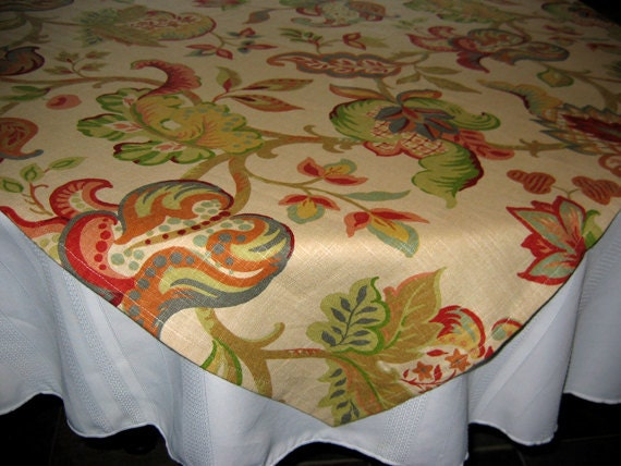 Designer Tablecloths by GreenSage® - Beige Background with Abstracted Floral Design