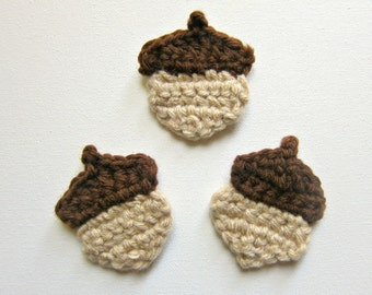 "1pc 3"" Crochet ACORN Applique"