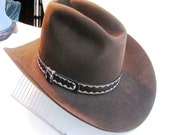 Cowboy Hat: Vintage Brown Stetson Cowboy 4 X Beaver hat with original box Size 7