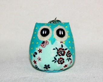 Turquoise - Little Cute Owl Doll with a Bag: plush, keychain, owl plush, children, kid, baby, boy, girl, kid, teal, blue, poka dot, dot