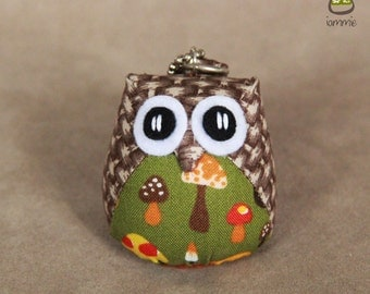 Tama - Cute Owl Doll with a Bag: owl plush, owl decor, little, mini, kid, mushroom, brown, green, owl decoration, kawaii, cotton, soft