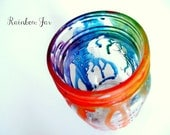 Melted Tie Dye Rainbow Neon Mason Jar Glass Canister Storage Jar