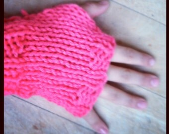 KNIT FINGERLESS GLOVES - Children's Fingerless Gloves Coral, Bright Hand Knit Mittens for Kids