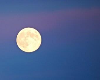 Full Moon 5x7 Glow Blue Pink Sky Photography Print