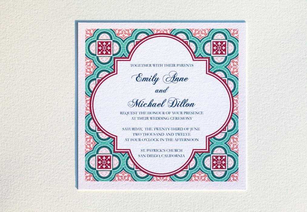 Spanish Wedding Invitations Examples: Spanish Square Tiles Wedding Invitation Suite