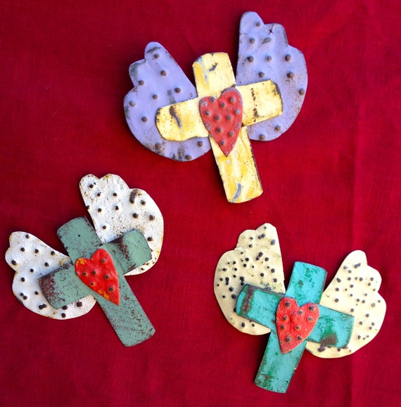 Recycled Metal Art Winged Red Heart Cross Fridge Magnets