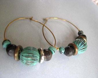 Vintage Earrings - Hoop Earrings - Unique Hoop Earrings - Green Hoop Earrings
