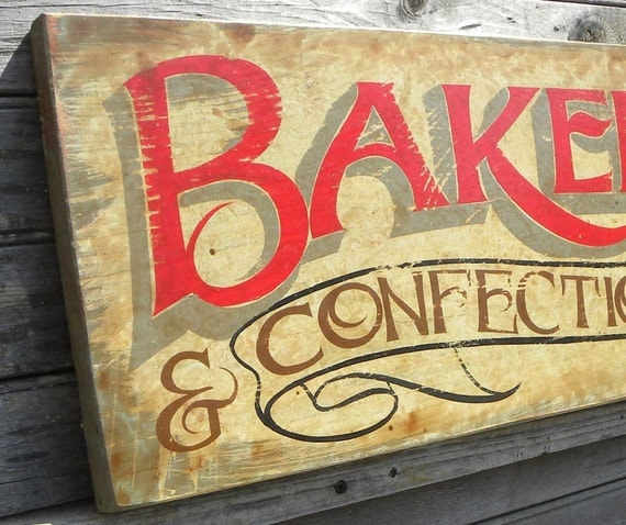 Bakery Sign & confectionary hand painted original vintage