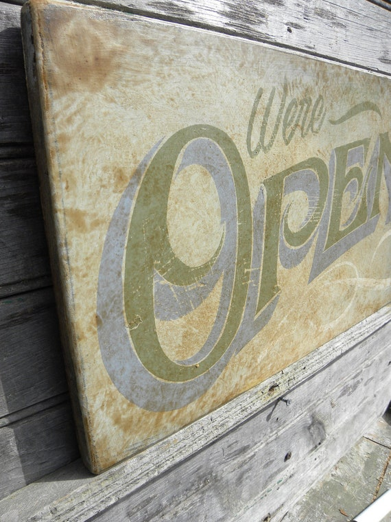 Open Sign hand painted faux vintage wooden by ...