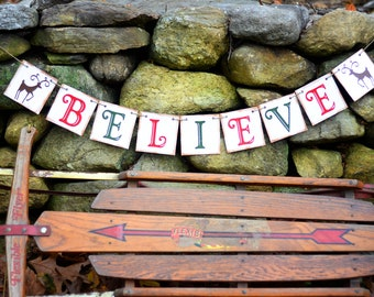 Christmas Banner - BELIEVE - Decoration or photo prop