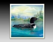Loon Duck Ceramic Tile with Hook or Coaster
