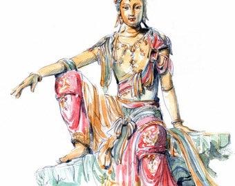 QuanYin Bodhisattva print from an original sketch