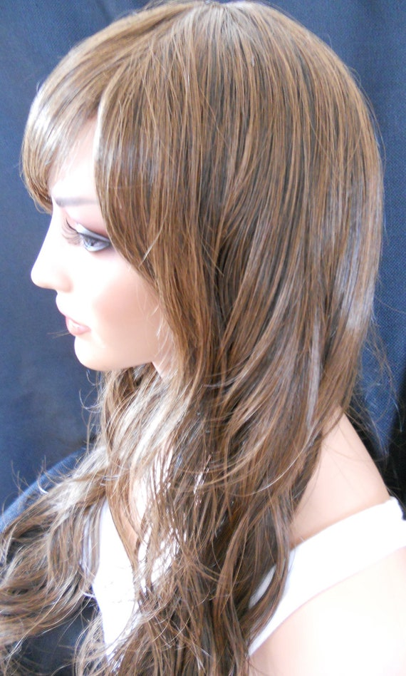 Sydney Beautiful Long Brown Wig Wavy Very Natural Look Synthetic Hair