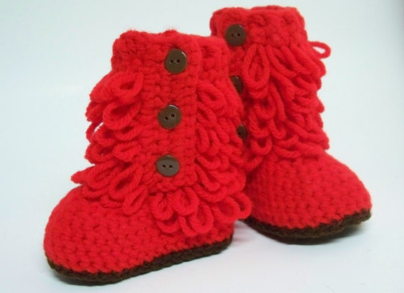 Hot Stuff Red Furry-licious Boots - Handmade Crochet Baby Boots