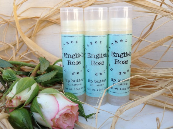 Lip Butter  - English Rose All Natural Lip Butter - lip balm - Mother's Day - Rose