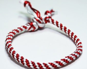 Kumihimo Bracelet Red & White Canada Day 150 OR Custom Color You Personalize Choose Satin Cord Jewelry