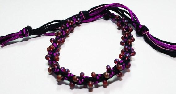 Halloween Goth Beaded Kumihimo Bracelet Plum Purple Black Gothic Jewelry
