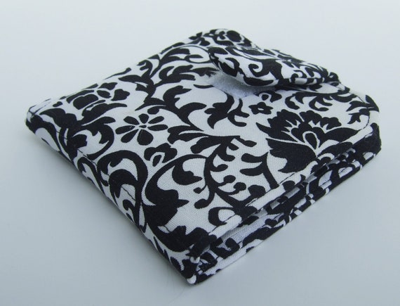 Black and White Floral Wallet- Cotton -Small