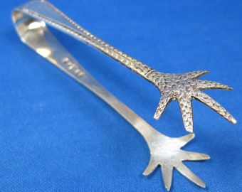 Claw Ends Silver Sugar Tongs England 1920s EPNS Feathered Claws 1920s