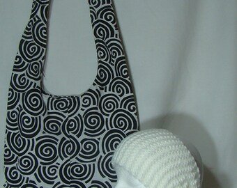 Hobo Shoulder Bag with FREE Crochet Scarf/Headband (Black&White) P300