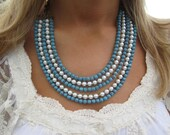 Turquoise and Pearl Layered Bib Necklace