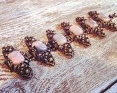 STUNNING and  Rare Vintage Bronze & pink marble Lucite Link Bracelet 1950's