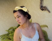 Re-purposed Vintage Fabric  Yellow Tie Up Bow Retro 50's Style Headband head bands Hair Wraps