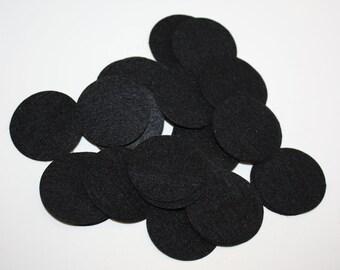 100  Black Felt Circles - 1.5 inches