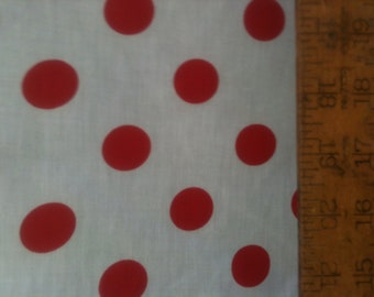 """Poly Cotton Large Red Polka Dot 1 inch Print on White Background Fabric 60"""" Fabric by the Yard - 1 Yard"""