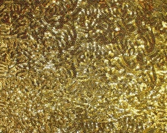 Sequin Seaweed Gold 58 Inch Fabric by the Yard - 1 yard
