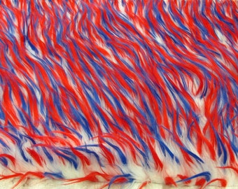 Faux Fake Fur Spike Red White Blue 3 Tone Fabric By the Yard 1 yard