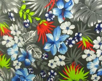 "Poly Cotton Print Hawaiian on Grey Background 60"" Fabric by the Yard - 1 Yard"