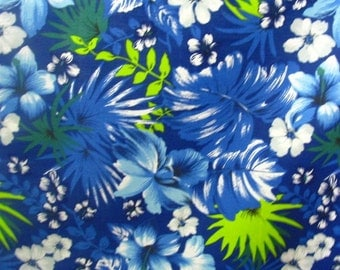 "Poly Cotton Print Hawaiian on Royal Blue Background 60"" Fabric by the Yard - 1 Yard"