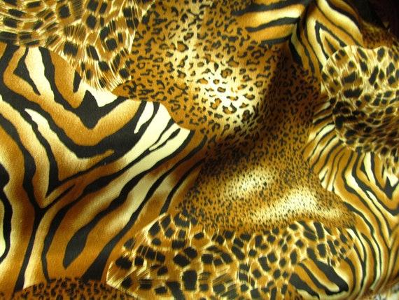 ... Cheetah and Tiger Mixed Animal Print 60 Inch Fabric By the Yard