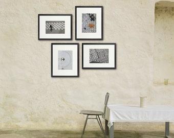 Geometric Paris, Black & White Photo Set,  Set of Four, Urban City, French Art, Minimalist Art