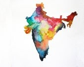 "India Map Print, 5"" x 7"" Watercolor Painting, Colorful Watercolor Map"