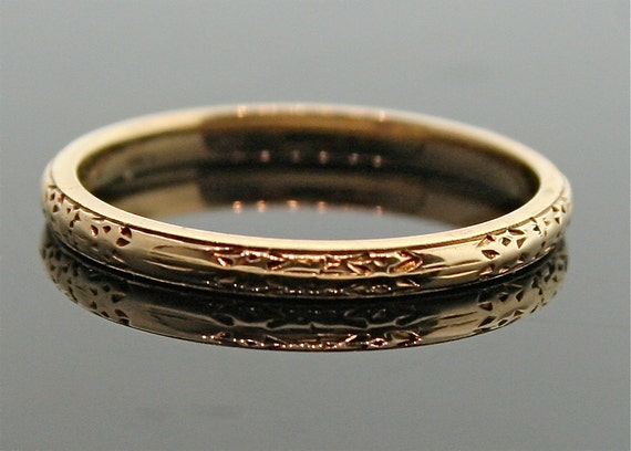 Antique 18k Rose Gold Engraved Wedding Band By Thecoppercanary