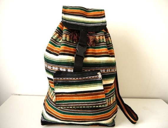 Tribal Fabric Backpack, Latin American, Peru, Brown Green Stripes