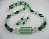 Czech Crystal Necklace and Earring Set  With Beautiful Black, Green and Clear Crystal Beads.