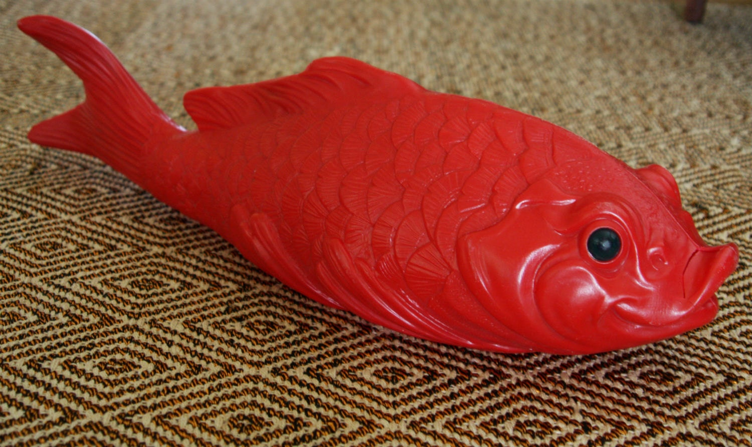 giant red plastic fish koi carp swedish by