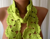 Hand Knitted Yellow Green Lace Neckwarmer, Crocheted , fashion,Gift