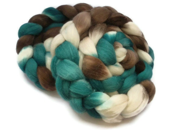 Hand Dyed Merino Roving / Top, Teal and Brown 3.5oz/100gm